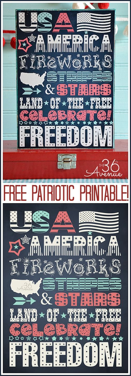 Celebrate the Fourth of July, Memorial Day and Flag Day  with this Free Printable at the36thavenue.com