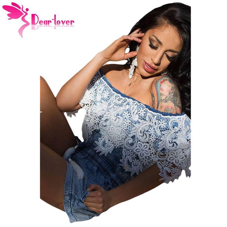יקר מאהב סקסי מכנסיים ג 'ינס האופנה הקיץ הסרוגה התחרה Trim ג' ינס כתף את Romper סרבלי נשים סרבל Monos LC64137