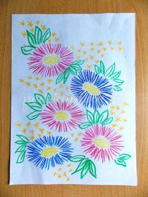 Открытки лучшее, поздравительная открытка к любому празднику восковыми мелками