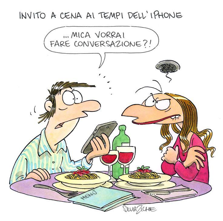 """""""Invito a cena"""" (ai tempi dell'iPhone) - di Silvia Ziche"""