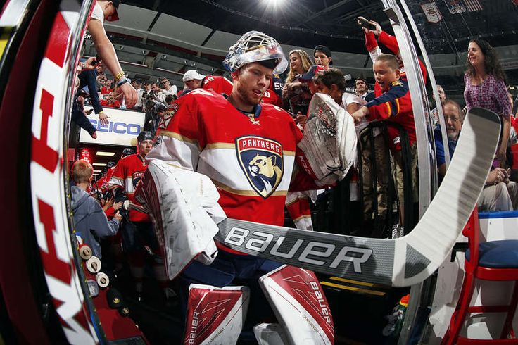 SUNRISE, FL - MARCH 23: Goaltender James Reimer #34 of the Florida Panthers is greeted by fans on the way out to the ice prior to the start of the game against the Arizona Coyotes at the BB&T Center on March 23, 2017 in Sunrise, Florida. (Photo by Eliot J. Schechter/NHLI via Getty Images)