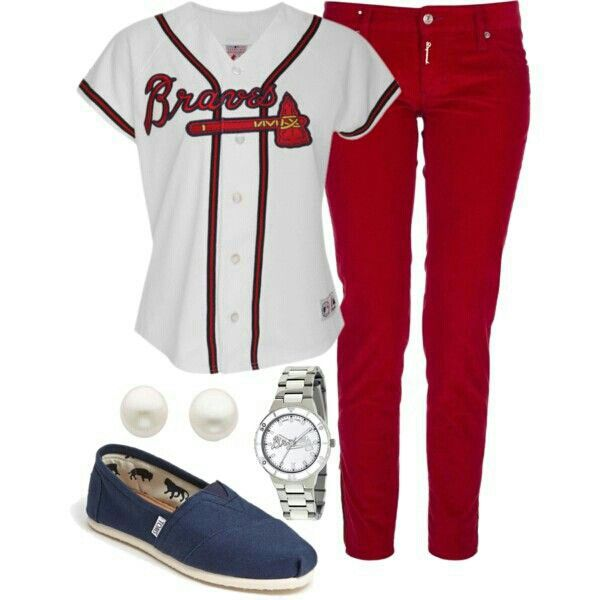 Braves Outfit With Images Atlanta Braves Outfit Braves Baseball Outfit Braves Game Outfit