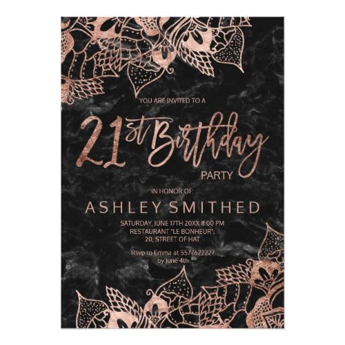 120 best typography birthday invitations images on pinterest faux rose gold mandala typography 21st birthday card stopboris Image collections