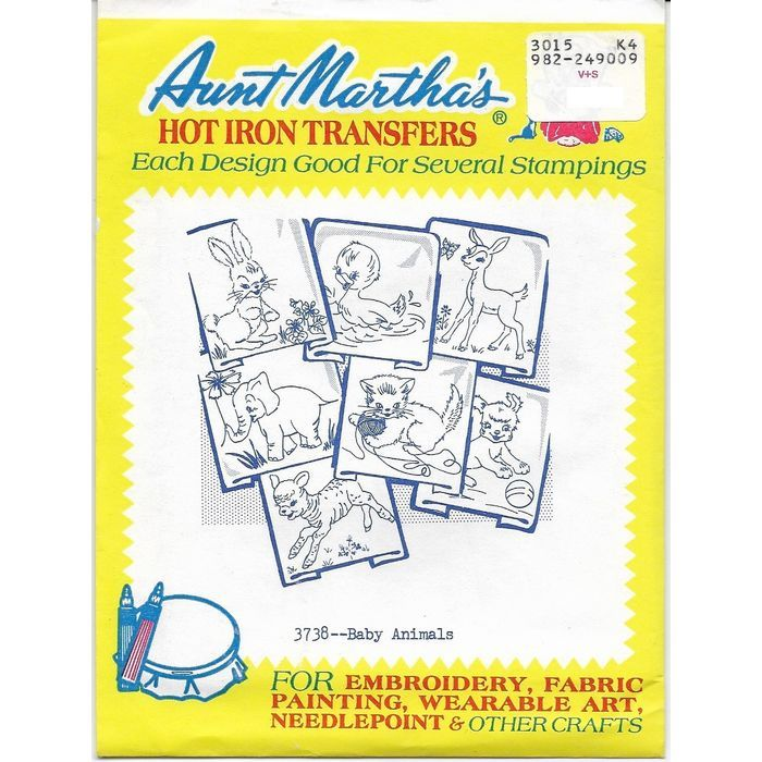 Aunt Martha's Hot Iron Transfers 3738 Baby Animals 7 pieces of Artwork Uncut Listing in the Fabric Transfers,Fabric Painting & Decorating,Crafts, Handmade & Sewing Category on eBid Canada | 168159823 CAN$ 7.00 + shipping