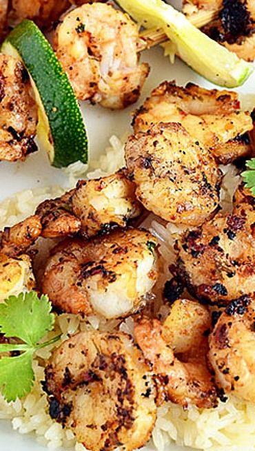 Spicy Coconut  Lime Grilled Shrimp Scampi