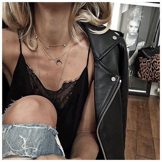black lace straps tank top necklaces leather jacket