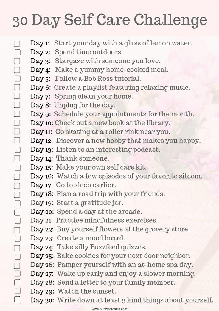 """Hier ist meine """"30 Days of Self Care"""" -Herausforderung! Ich hoffe, diese hilfreiche Ressource ins …   – Positive affirmations"""