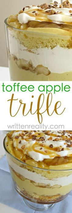 Trifle recipes are great for serving desserts at potlucks or whenever you need to feed a crowd. This toffee apple trifle recipe is filled with toffee bits, caramel, and all those flavors reminding you of an old fashioned apple pie. apple desserts, trifle desserts