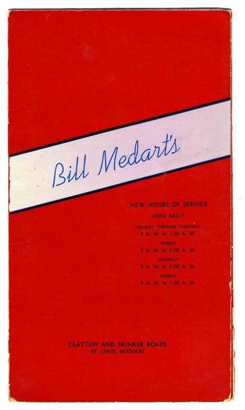 Bill Medart's Restaurant Menu Clayton & Skinker Roads St Louis Missouri 1940's