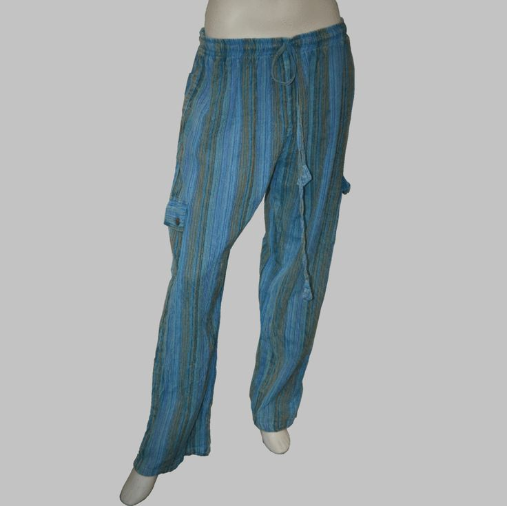 Striped Acid-Washed Long Pants