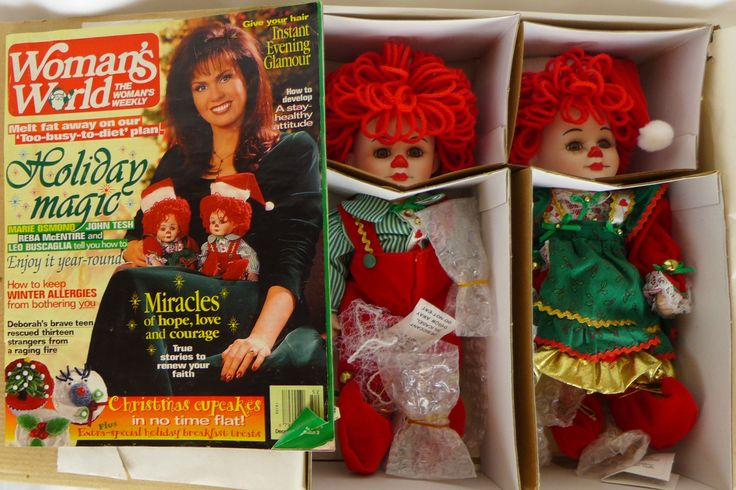 """Marie Osmond Fine Porcelain """"Twins"""" Collector Dolls: Jingles and Belle for Christmas 1995 with the Woman's World December 26, 1995 magazine by AHOTStores on Etsy"""