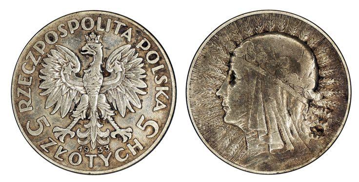 https://flic.kr/p/RSsgvW   5 Zlotych 1933 Poland   0.750 Silver 11.000.000 Designer: Antoni Madeyski (PL)