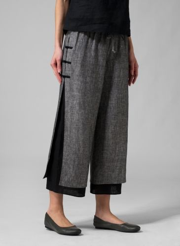 A pants too tight makeover idea---Linen Double-Layer Cropped Pants - Two Tone  Charcoal/Black