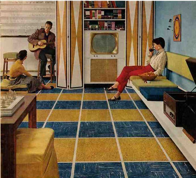 50s basement  including 1956 vintage Kentile floors