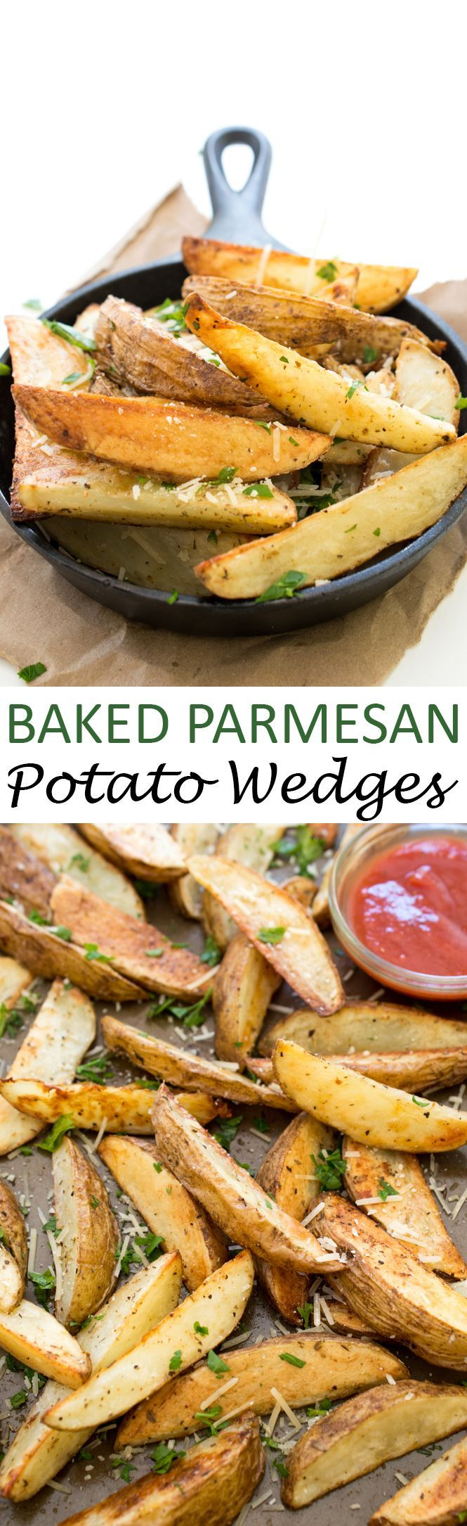 Baked Parmesan Potato Wedges. The perfect snack or side dish to complement any meal. Takes less than 45 minutes to make! | chefsavvy.com #recipe #potato baked #wedges
