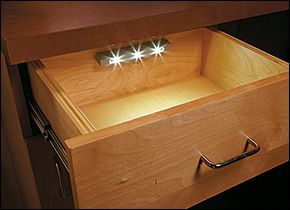 Switchless Drawer Light - Unobtrusive and simple to install, this battery-operated LED light is activated by vibration, automatically illuminating the contents as soon as the drawer is opened. The sensor resets after 15 seconds to conserve power (if you need more time, just a tap turns it on again).