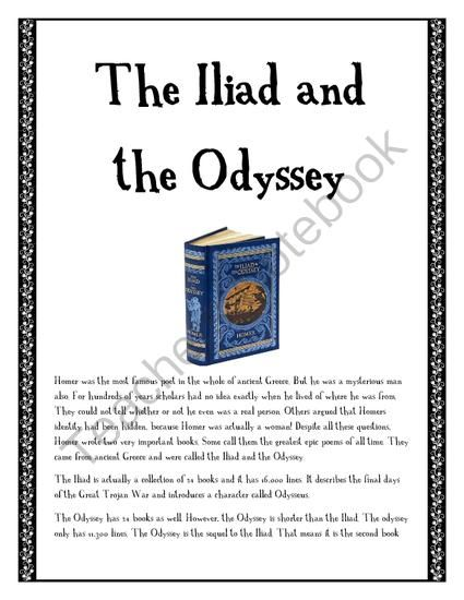 iliad and odyssey essay Classics / wags 23: essay 2 (march 5, 2011)  iliad 24 and odyssey 23 due: march 5 (saturday) electronically by 5:00 pm length: 1,250 words (ca five pages.