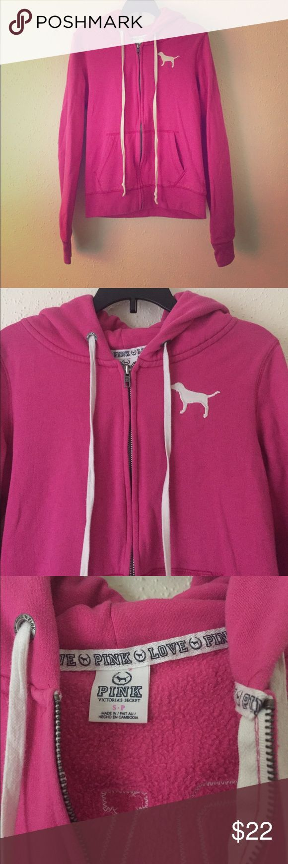 PINK Zip Up Hoodie Bubblegum pink zip up hoodie. Soft and comfy! Two front pockets. LOVE PINK embroidered on back. Gently worn. Some piling but no rips or stains. PINK Victoria's Secret Tops Sweatshirts & Hoodies