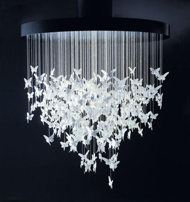 Самодельная люстра из бумаги бабочки