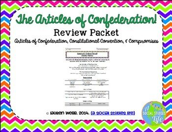 Articles of Confederation Review Packet • • The Articles of Confederation; ideas and terms to know; weaknesses of the Articles of Confederation; the Constitutional Convention ideas and terms to know; Virginia Plan; New Jersey Plan; Great Compromise; Three-Fifths Compromise; Ratification