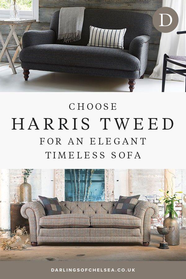 Harris Tweed Sofa Style Quality And Comfort Darlings Of Chelsea In 2020 Tweed Furniture Leather Corner Sofa Fabric Sofa