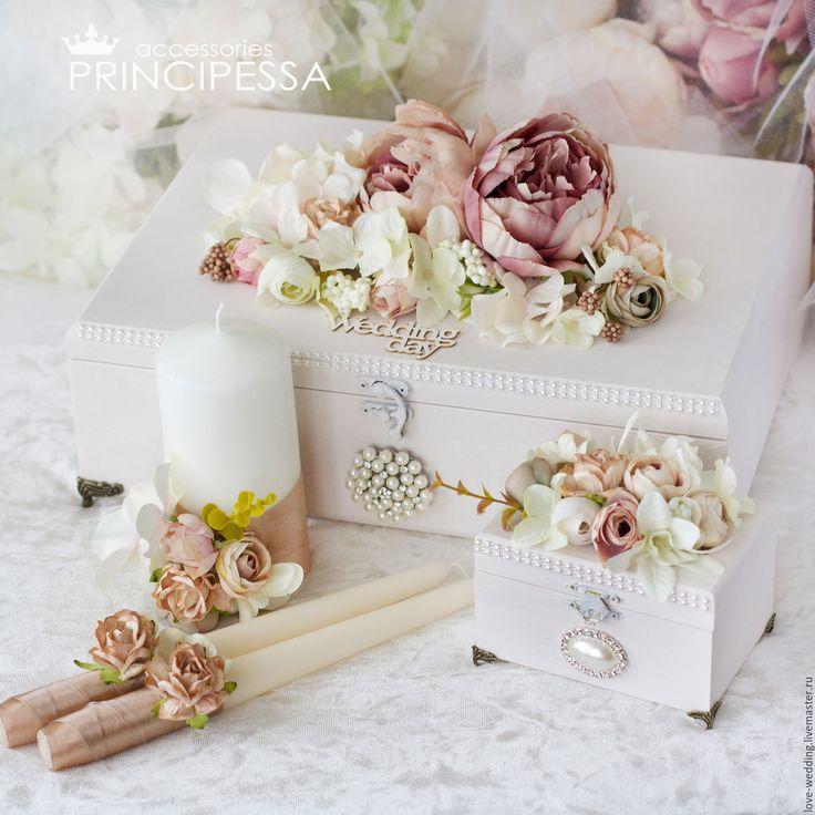 """Купить """"Бежевые цветы"""" свадебный набор - бежевый, аксессуары, Аксессуары handmade, аксессуары для фотосессий"""