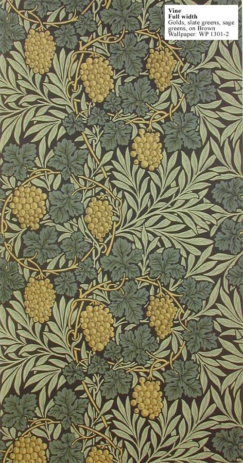 "William Morris' ""Vine"" wallpaper of 1873 is now available in two of Morris' archival document colourways, including his lavish ""gold lacquer"" version of 1884, and a handsome green/gold combination from 1897. Two new colourways have also been added: One with a gold metallic all-over background, and one lighter version with a cream background."