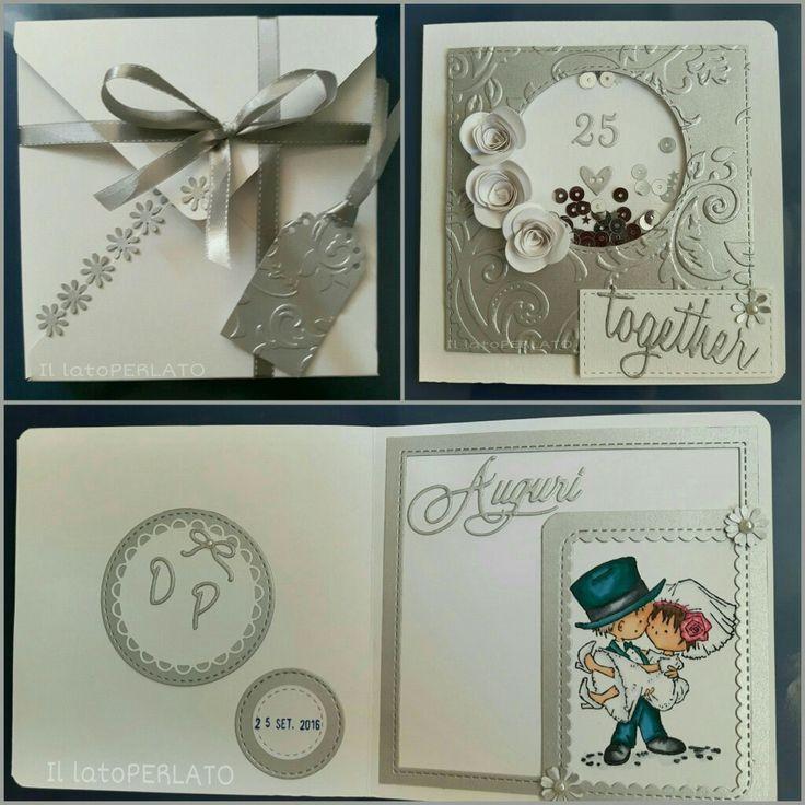 Il lato Perlato: Biglietto shaker per nozze d'argento. Marianne design stamp, Don & Daisy.