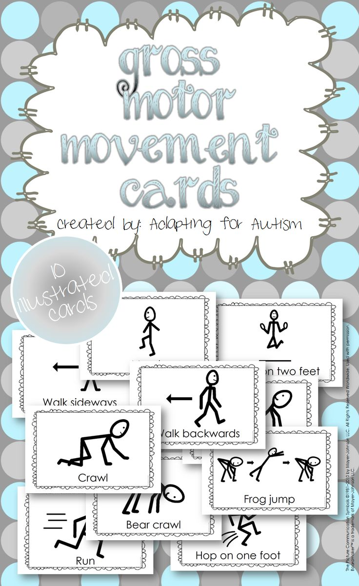 The resource includes 10 gross motor movement cards you can use to get your students moving. Each 1/2 page card has a stick figure performing a motor movement. Includes run, walk backwards, walk sideways, bear crawl, frog jump, hop on one foot, jump on two feet, crawl, march and crab walk. {Created by Adapting for Autism}