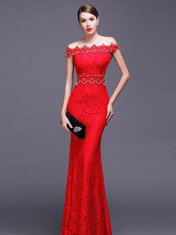25fef2c0e14a Elegant Lace Off Shoulder Elastic Mermaid Dress Evening Dress in ...