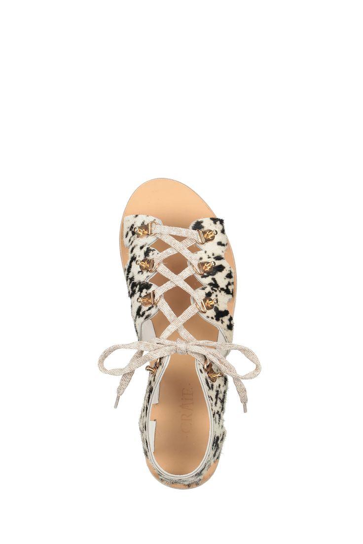 Sandales à lacets cuir Dessin Noir Craie sur MonShowroom.com