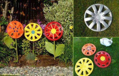 Hubcap turned into yard decorations