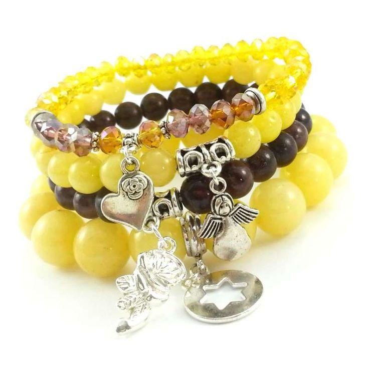 Komplet bransoletek z kamieniami naturalnymi; żółtymi jadeitami, brązowym marmurem i kryształkami.