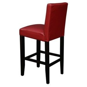 Villa Faux Leather Counter Stools (Set of 2) Color: Red Faux Leather