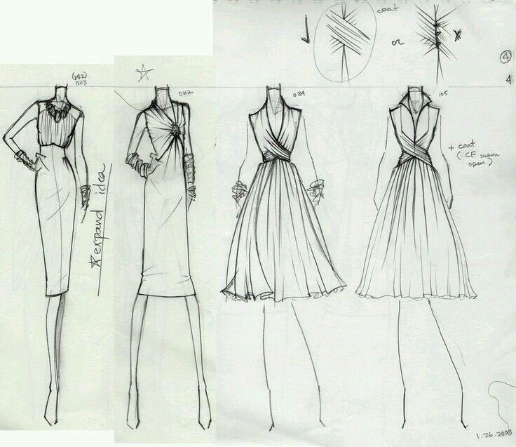 рисунки карандашом платья для начинающих дизайнеров также