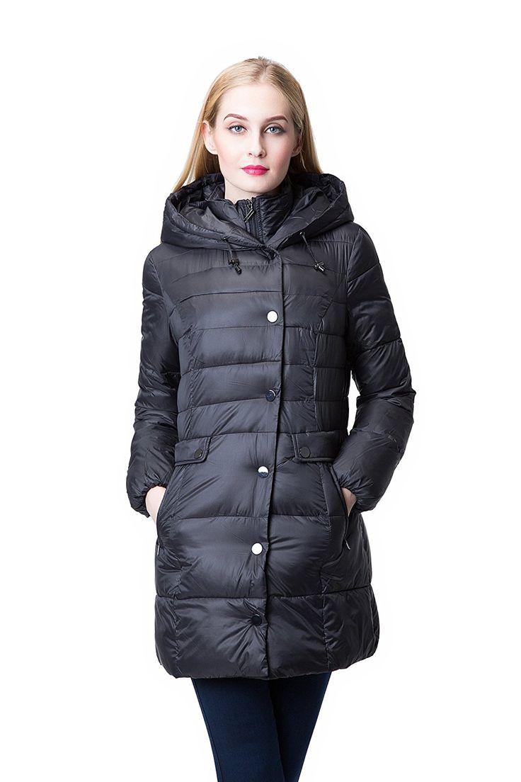 Jollychic Women's Winter Light Weight Hooded Thicken Warm Down Coat Jack.