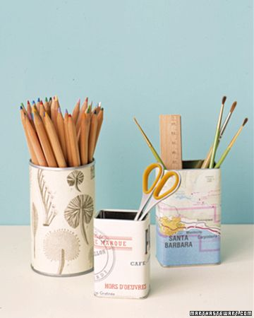 Clever use for maps, brochures and other ephemera from vacations: wrap around tins to make cool pencil holders.