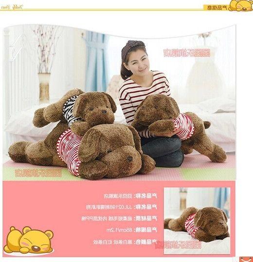 34.68$  Buy here - http://ali3qf.worldwells.pw/go.php?t=1989161725 - 85cm lying dog plush toy stripes cloth dog doll throw pillow girlfriend  ,birthday gift w5261