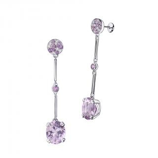 Plaisir d'Amour Earrings  Plaisir d'Amour earrings, 18Kt white gold, Rose de France (7,2 ct), light amethysts and diamond pave.