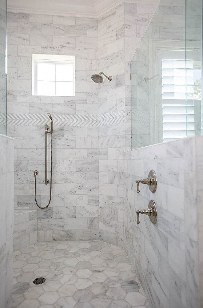 Shower Tile Ideas Shower Wall With Marble Tile And Shower Floor Tile Large Hex Marble Tile Showertile Bathroomdes Marble Shower Tile Shower Tile Shower Floor