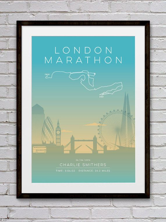 London Personalised Marathon Poster / Memento / Gift / Art