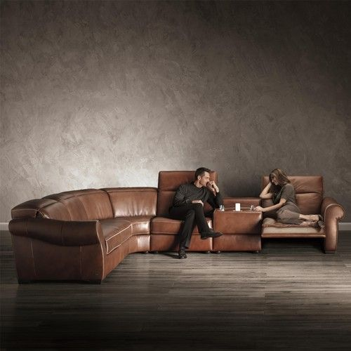 Transitional Reclining Sectional with Storage Console and Cupholders by Natuzzi Editions - Baer's Furniture - Reclining Sectional Sofa