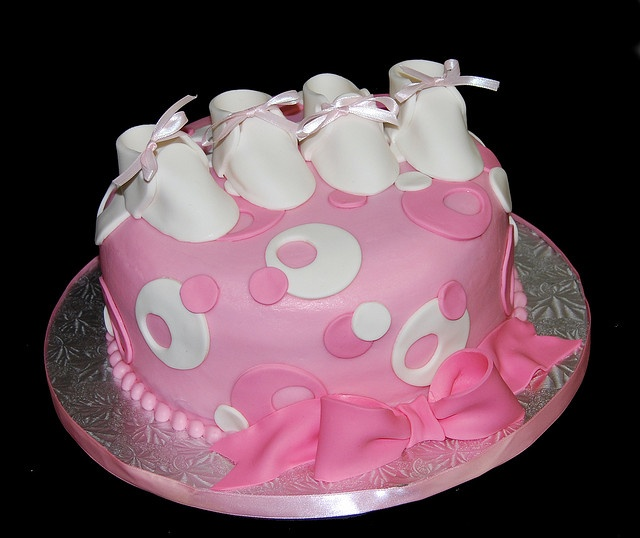 Twin Baby Shower Cake Toppers: Pink And White Sassy Circles Twins Baby Shower Cake With