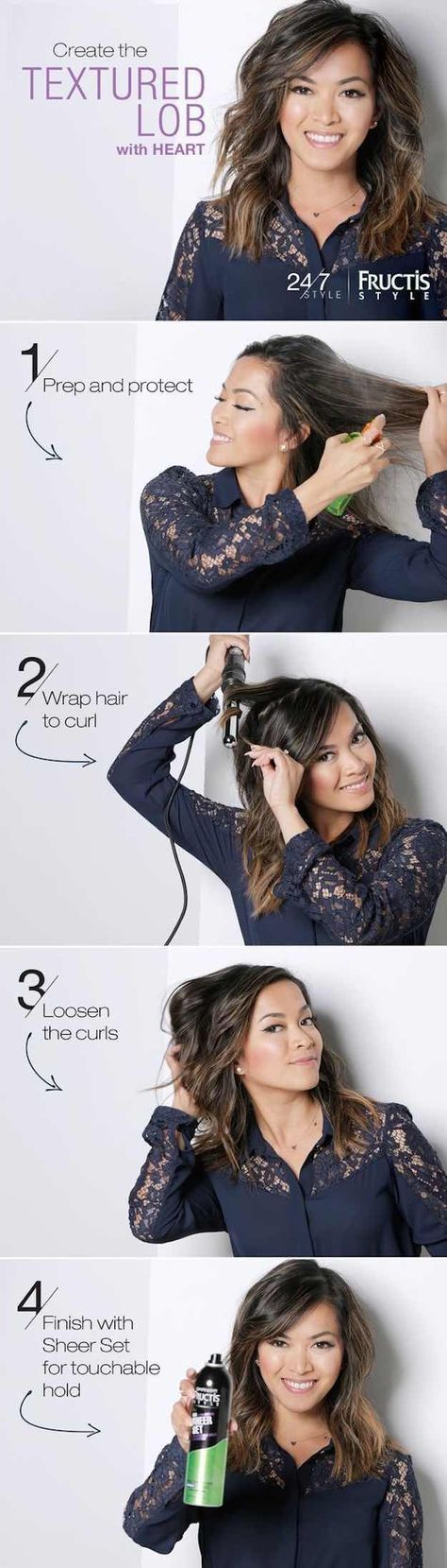 41 Lob Haircut Ideas For Women - TEXTURED LOB HAIRSTYLE TUTORIAL WITH HEART DEFENSOR | 24/7 STYLE -What is a lob? Step by step easy tutorials on how to cut your hair for a lob haircut and amazing ideas for layered, and straight lobs. Ideas for lobs with bangs, thick hair, wavy and thin hair. For long hair and medium hair. For round faces and sharp features - thegoddess.com/lob-haircut-ideas-women