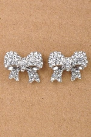 """Amazon.com: * Chubby rhinestone bow studs * 0.6"""" approx. STYLE NO. E1514SCL silver clear crystal tie knot earings earrings woman girl teen ear decoration HanduDD: Home & Kitchen"""