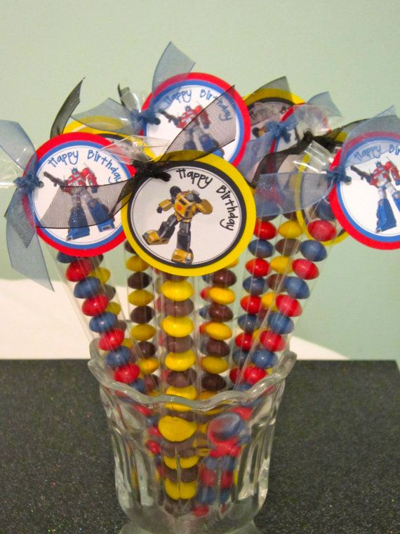 transformers party favors!.....but you could use this idea for any party theme