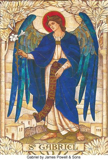 Mosaic of the Archangel Gabriel by James Powell and Sons, St John's Church, Boreham, Wiltshire 1888