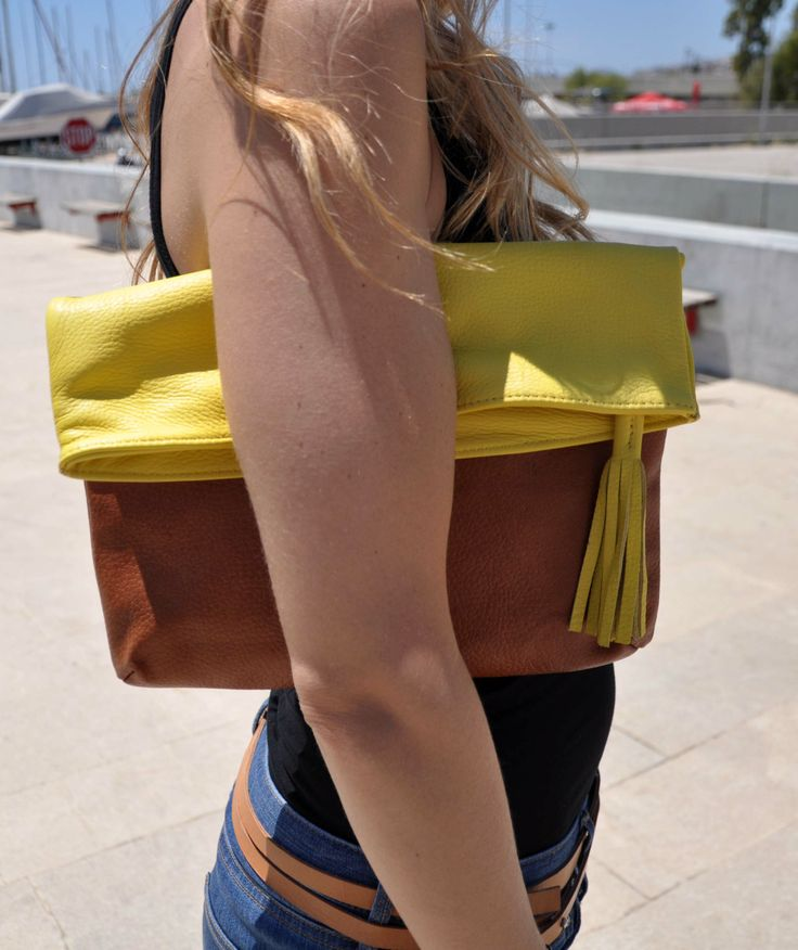 two colours leather clutch