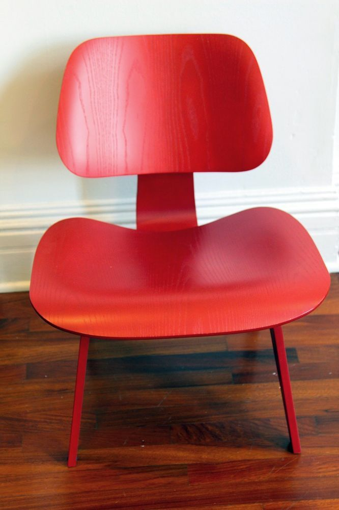 Mid Century Modern Herman Miller Eames LCW Lounge Chair, Red  MIDWEST  DELIVERY
