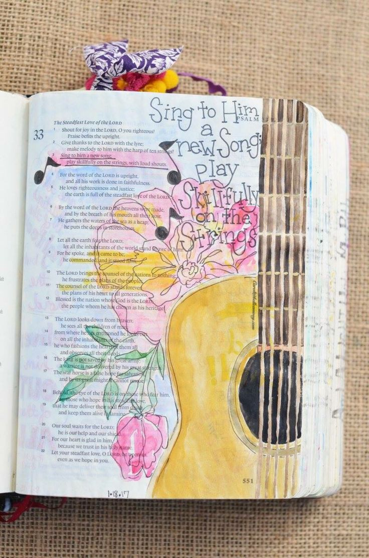 Psalm 33:3, January 18, 2017, carol@belleauway.com, watercolor, Illustrated Faith pen, bible art journaling, bible journaling, illustrated faith